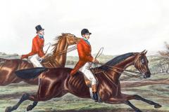 Late 19th Century Set Four Equestrian Engravings Forest Hunting Scenes - 1038286