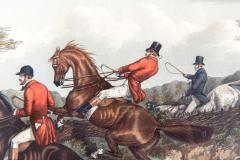 Late 19th Century Set Four Equestrian Engravings Forest Hunting Scenes - 1038310