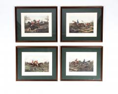 Late 19th Century Set Four Equestrian Engravings Forest Hunting Scenes - 1038314