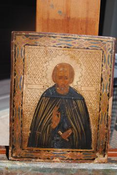 Late 19th c Russian wood Panel Icon - 1070152