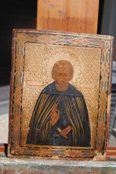 Late 19th c Russian wood Panel Icon - 1070156