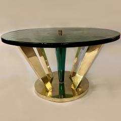 Late 20th Century Brass Green Molten Murano Glass Coffee Table - 2009492