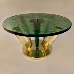 Late 20th Century Brass Green Molten Murano Glass Coffee Table - 2009493