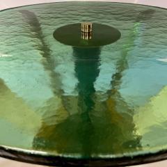 Late 20th Century Brass Green Molten Murano Glass Coffee Table - 2009495