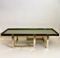 Late 20th Century Green Glass w Wooden Frame Brass Basement Coffee Table - 2023181