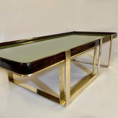 Late 20th Century Green Glass w Wooden Frame Brass Basement Coffee Table - 2023182