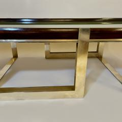 Late 20th Century Green Glass w Wooden Frame Brass Basement Coffee Table - 2023184