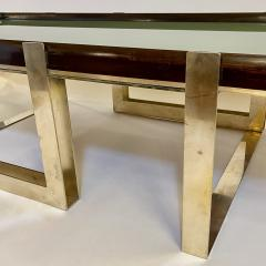 Late 20th Century Green Glass w Wooden Frame Brass Basement Coffee Table - 2023185
