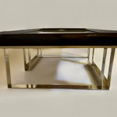 Late 20th Century Green Glass w Wooden Frame Brass Basement Coffee Table - 2023186