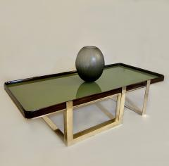 Late 20th Century Green Glass w Wooden Frame Brass Basement Coffee Table - 2023190