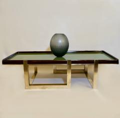 Late 20th Century Green Glass w Wooden Frame Brass Basement Coffee Table - 2023191