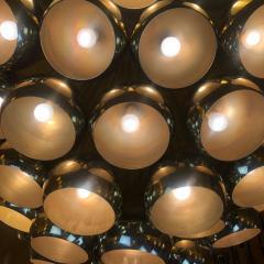 Late 20th Century Huge Italian Brass Open Globes Chandelier - 1631738