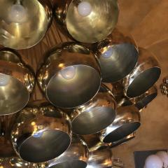 Late 20th Century Huge Italian Brass Open Globes Chandelier - 1631739
