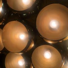 Late 20th Century Huge Italian Brass Open Globes Chandelier - 1631752