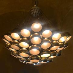 Late 20th Century Huge Italian Brass Open Globes Chandelier - 1631754