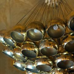Late 20th Century Huge Italian Brass Open Globes Chandelier - 1631756