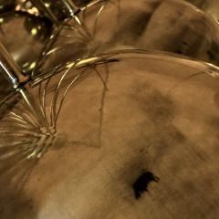 Late 20th Century Huge Italian Brass Open Globes Chandelier - 1631760