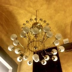 Late 20th Century Italian Bistrot Brass Chandelier w White Opaline Glass Globes - 1644286