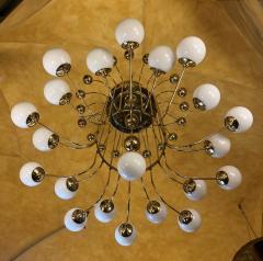 Late 20th Century Italian Bistrot Brass Chandelier w White Opaline Glass Globes - 1644290