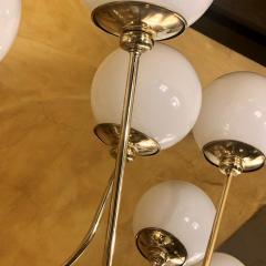 Late 20th Century Italian Bistrot Brass Chandelier w White Opaline Glass Globes - 1644310