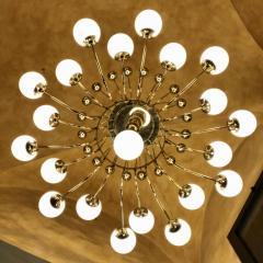 Late 20th Century Italian Bistrot Brass Chandelier w White Opaline Glass Globes - 1644317