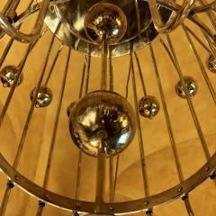 Late 20th Century Italian Bistrot Brass Chandelier w White Opaline Glass Globes - 1644325