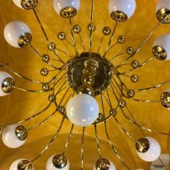 Late 20th Century Italian Bistrot Brass Chandelier w White Opaline Glass Globes - 1644343