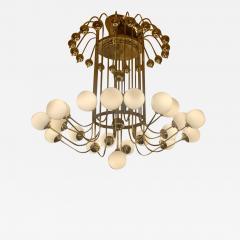 Late 20th Century Italian Bistrot Brass Chandelier w White Opaline Glass Globes - 1648020