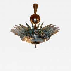 Late 20th Century Light Green Murano Glass and Brass Round Chandelier - 1635842