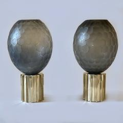 Late 20th Century Pair of Faceted Gray Murano Glass Brass Table Lamps - 2009511