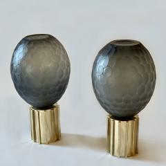 Late 20th Century Pair of Faceted Gray Murano Glass Brass Table Lamps - 2009512