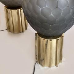 Late 20th Century Pair of Faceted Gray Murano Glass Brass Table Lamps - 2009513