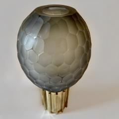 Late 20th Century Pair of Faceted Gray Murano Glass Brass Table Lamps - 2009515