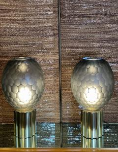 Late 20th Century Pair of Faceted Gray Murano Glass Brass Table Lamps - 2009519