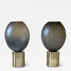 Late 20th Century Pair of Faceted Gray Murano Glass Brass Table Lamps - 2011104