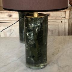 Late 20th Century Pair of Green Italian Fractal Resin and Brass Table Lamps - 1644234