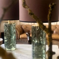 Late 20th Century Pair of Green Italian Fractal Resin and Brass Table Lamps - 1644235