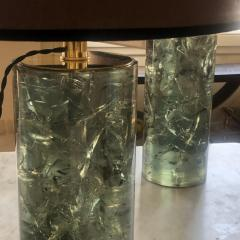 Late 20th Century Pair of Green Italian Fractal Resin and Brass Table Lamps - 1644238