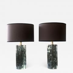 Late 20th Century Pair of Green Italian Fractal Resin and Brass Table Lamps - 1648014