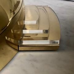 Late 20th Century Six Space Age Gold Metal Transparent Lucite Sconces - 1631620