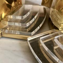 Late 20th Century Six Space Age Gold Metal Transparent Lucite Sconces - 1631627