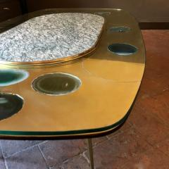 Late 20th Century Space Age Brass Glass w Green Malachite Marble Coffee Table - 1696585