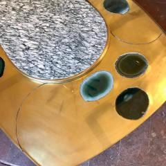 Late 20th Century Space Age Brass Glass w Green Malachite Marble Coffee Table - 1696586