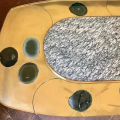 Late 20th Century Space Age Brass Glass w Green Malachite Marble Coffee Table - 1696588