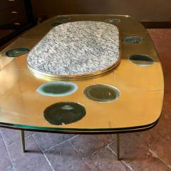 Late 20th Century Space Age Brass Glass w Green Malachite Marble Coffee Table - 1696589