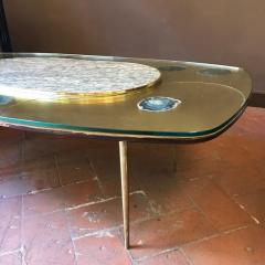 Late 20th Century Space Age Brass Glass w Green Malachite Marble Coffee Table - 1696595