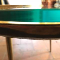 Late 20th Century Space Age Brass Glass w Green Malachite Marble Coffee Table - 1696599