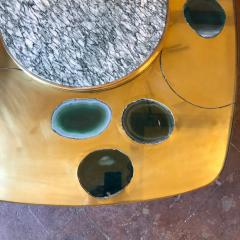 Late 20th Century Space Age Brass Glass w Green Malachite Marble Coffee Table - 1696600