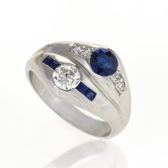 Late Art Deco Diamond Sapphire and Platinum Double Yin Yang Ring - 114552