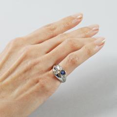 Late Art Deco Diamond Sapphire and Platinum Double Yin Yang Ring - 114557